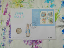 2016 Royal Mint Peter Rabbit FIRST DAY COVER stamps with 50p FIFTY PENCE coin