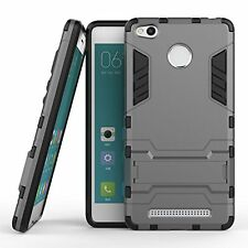 FOR (XIAOMI REDMI 3S PRIME) KICK STAND ARMOR Shockproof BACK Case -POWER GREY