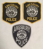 Vintage Lot Of 3 Patches Of Amesbury Police Department