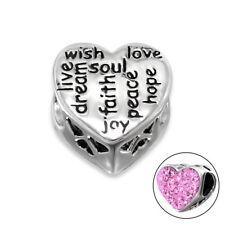 S2143 Authentic Sterling Silver Love Faith Soul Heart Charm for Bracelet