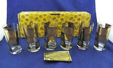 Vintage Set of 6 Black/Gold Embossed Golden Coin Glassware Highball EUC Orig Box