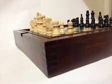 Lacquered Wood Multi Game Set Dovetail Corners Carved Turned Wood Chess Pieces
