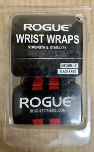 """New 18"""" Rogue Fitness Wrist Wraps Medium Black/Red Power Weightlifting Crossfit"""