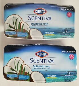 Lot Of 2 Scentiva Wet Mopping Cloths 12 Refills Each Pacific Breeze & Coconut
