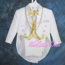 5Pc Formal Tuxedo Suit Vest Wedding Party Christening White Gold Sz 18-24m #015A