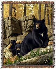 67x53 BEAR Cubs Wildlife Tapestry Afghan Throw Blanket