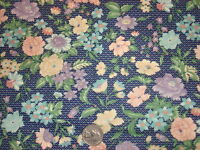 """Vintage Cotton Fabric """"v""""s ON NAVY BLUE,PURPLE PEACH,TURQUOISE FLORAL 1 Yd/44"""" W"""