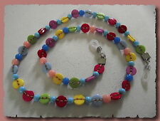 Cord clip glasses children pearls and buttons multicolored necklace vision sun