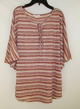 # BATWING SLEEVES AVA JAMES KNIT  RUST/CREAM TOP BLOUSE WOMEN'S SIZE M NEW