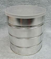 Heavy Silver Tin Empty Vintage 3 lb Metal Coffee Can 6x7 Food Tin w Lid FREE S/H