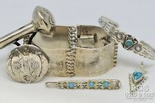 Signed Silver Navajo Child Jewelry Bracelets Ponytail Hair Pin Rattle 67gr 20444