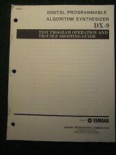 Yamaha Digital Prog Algorithm Synthesizer DX-9 Test Troubleshooting Manual DX9