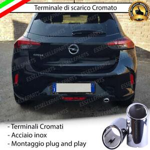 TERMINALE SCARICO CROMATO LUCIDO ACCAIO INOX OPEL CORSA F SCARICO TONDO