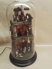 Presepe artigianale in campana di vetro con pastori in creta, con luci