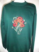 LADIES SWEATSHIRT,JUMPER,TOP WITH AN EMBROIDERED POPPIES DESIGN GREEN