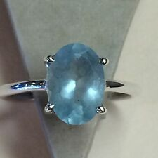 Natural 2ct Milky Aquamarine 925 Solid Sterling Silver Solitaire Ring sz 7.75