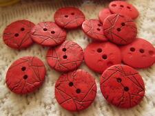 lot 15 boutons rouge effet craquelé 2 trous couture mercerie 1,8 cm ref 1876