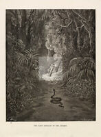 GUSTAVE DORE - Religious Artwork - First Approach of the Serpent 1891 #D56