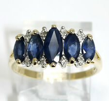 Diamond natural sapphire ring 2 tone gold marquise round 1.65CT sz 8 birthstone