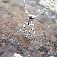Hawaiian 925 Sterling Silver DOUBLE HANGING PLUMERIA Pendant Necklace #SP41001