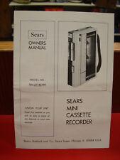 Vintage Sears Mini Cassette Recorder Model No. 564 21742350 / Owner's Manual