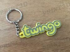 Porte clés / Keychain PVC souple Twingo monogramme logo coffre jaune/yellow
