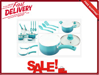 Mainstays 12 Piece Cookware Set Ceramic Nonstick Teal Ombre Tempered Glass Lids
