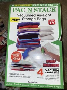 PAC N STACK - Handheld Vacuum Sealing Storage 4 Bags PUMP INCLUDED AS SEEN ON TV