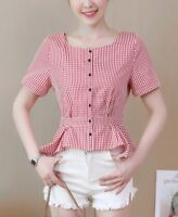 New Women girl Fashion Korean Spring Summer Top Plain Casual Check Slim Cut