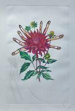 SALVADOR DALI Dahlias of .. HAND SIGNED 290/350 Etching COA Surrealistic Flowers