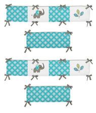 Sweet Jojo Modern Turquoise Blue Elephant Jungle Baby Girl 4Pc Crib Bumper Pad