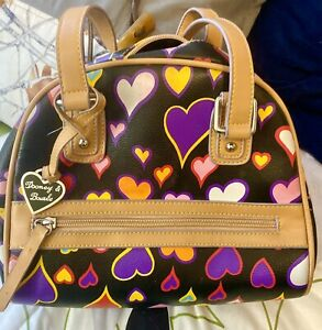 Vintage Dooney & Bourke black with hearts Leather Purse Tan Leather Trim.