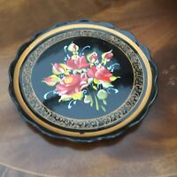 Vntage Decorative Plate Hand Painted Made In PORTUGAL 10 Inch. Roses. Black/Red