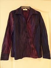 Avenue Fashion diagonal buttoned front in blue, black and purple/pink, size 12