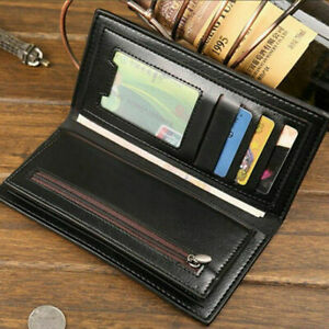 High Quality Men Business Bifold Wallet Long Clutch Leather ID Card Holder Purse