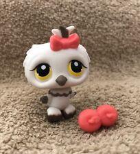 Littlest Pet Shop~#359~Owl Bird~White Gray~Pink Bow~Yellow Dot Eyes