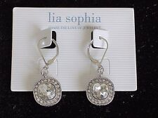 "Beautiful Lia Sophia ""BELLA DONNA"" / ""CYRSTAL CLEAR"" Dangle Earrings, NWT"