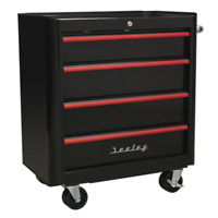 Rollcab 4 Drawer Retro Style- Black with Red Anodised Drawer Pulls SEALEY AP28