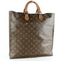 LOUIS VUITTON SAC PLAT Old Model Tote Bag Shopping Purse Monogram Brown