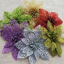 Artificial Party Tree Wedding 5/10Pcs Flower Xmas Christmas Glitter Hollow Decor
