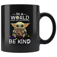AUTISM Baby Yoda Star Wars Cute Yoda AUTISM Fun Black Coffee Mug Gift