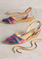 NEW Anthropologie Frida Silk Slingback Micro Wedge Heels Size 7