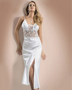 Women Top Quality White Bridal Satin and Lace  Nightdress   European Products