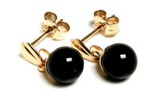 9ct Gold Black Onyx 5mm Ball drop earrings Gift Boxed Made in UK Christmas Xmas