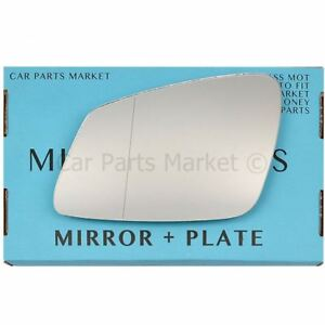 For BMW 5 Series 10-16 Left passenger side Aspheric wing mirror glass +plate GT
