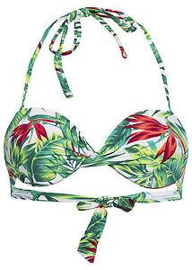 B15050607 Damen Tally Weijl Bikini BH Push-up Blumen Muster weiß grün