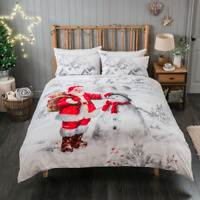 Father Christmas Duvet Cover Set Single Double King size Xmas Bedding Gift New