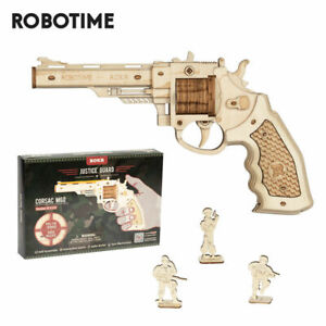 ROKR Wooden Gun 3D Puzzle Toy Revolver Model Assembly Gift for Kids Boy Teens