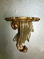 Vintage antique Italian Rococo ornate hand carved gold gilt leaf wood wall shelf