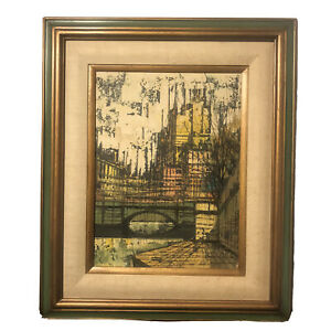 Mid Century Original Art Painting Abstract Impressionism Cityscape Bridge Framed